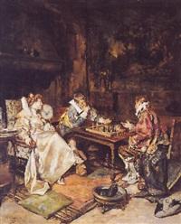 caballeros en una partida de ajedrez by maximo juderias caballero