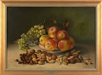 still life of fruit and nuts on a table by annie m. snyder