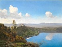 view of the lake albano with the papal palace of castel gandolfo by janus andreas barthotin la cour