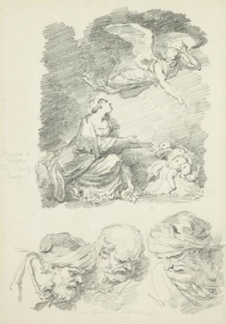 agar et lange after castiglione et trois têtes de vieillards after sebastiano ricci by jean honoré fragonard