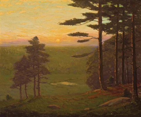 valley at sunset by charles warren eaton