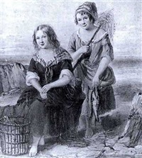 two fishergirls with their catch by charles forster