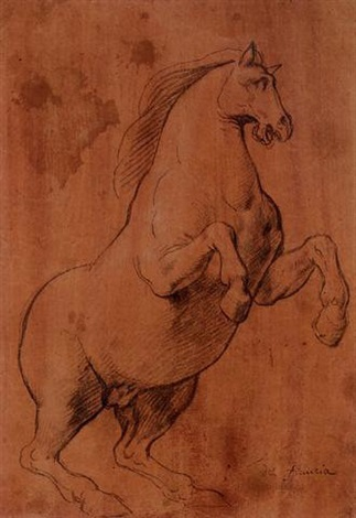 un cheval cabré tourné vers la droite by lazzaro tavarone