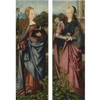 saint catherine (+ saint barbara; pair) by master of frankfurt