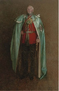 portrait of arthur saunders, 5th earl of arran (1839-1901), full-length, in military dress by edith d. brinton