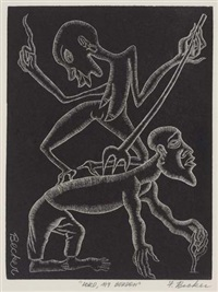 lord, my burden (+ 2 others, one ca. 1936; 3 works, various sizes) by fred becker