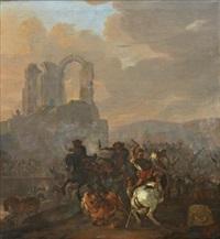 kavalleriscen framför ruin by herman van lin