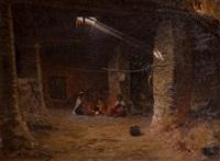 famille orientale au coin du feu by antoine gadan
