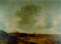 a landscape with a rider on a path, view of alkmaar beyond by françois van knibbergen