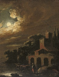 a moonlit river landscape with a drover and cattle by a house by adam louisz colonia