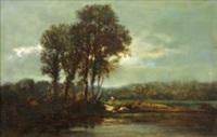 paysage à la lavandière by françois edouard bournichon