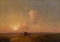 camel-cart at sunset in a coastal landscape by ivan konstantinovich aivazovsky