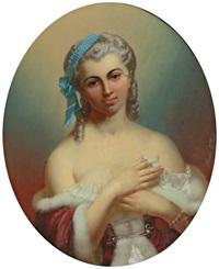 portrait de jeune femme à la robe rouge et revers d'hermine by théodore fantin-latour