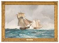 the tyrranicide captures the british schooner dispatch, july 8, 1776 by leslie arthur wilcox