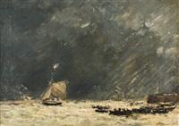 bateau dans la tempête by eugène boudin