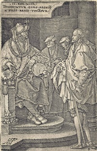 absalom inviting david and his brothers to a feast, from: the story of amnon and tamar by heinrich aldegrever