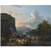 a herd with cattle crossing a river by leendert de koningh