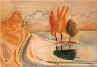 figures at safed landscape by nachum gutman
