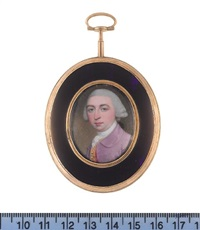 a gentleman, wearing mauve coat, pink waistcoat with gold brocade, white cravat and stock, his powdered wig, worn en queue and tied with a bow by henry spicer