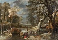paysage de sous-bois enneigé animé de personnages by pieter van der hulst the younger