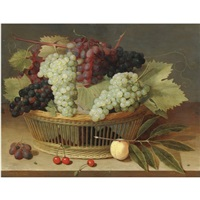 still life with grapes on the vine in a basket, with three cherries on the wooden tabletop below by isaac soreau