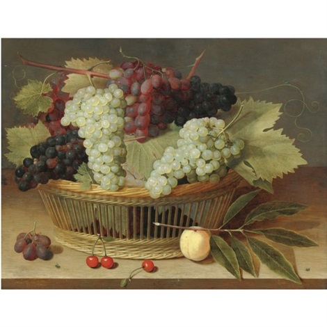 still life with grapes on the vine in a basket with three cherries on the wooden tabletop below by isaac soreau