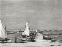 boats on a beach by percy hague jowett
