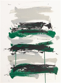 champs (black, gray and green) by joan mitchell