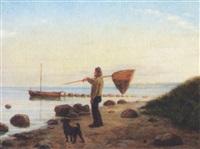 fisker med sin hund ved havet by christian rudolph vogelsang