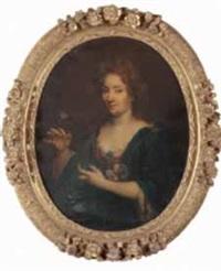 portrait en buste d'une femme de qualité une fleur dans sa main droite by pierre mignard the younger