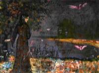 femme symboliste au bord du lac by alexis merodack-jeaneau