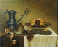 nature morte au pichet, citron, tourte et vase nautile sur un entablement de bois by maerten boelema de stomme