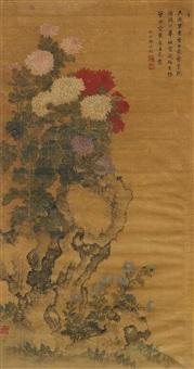 bunt blühende chrysanthmen und astern an einem felsen by zhou yigui