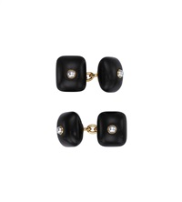 wood and cultured pearl cufflinks (pair) by trianon (co.)