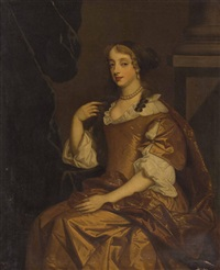 three quarter length portrait of a lady seated by a pillar by sir peter lely