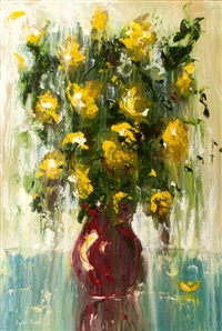 still life - yellow flowers & red vase by angelina raspel