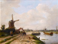 haarlem with saint bavo cathedral in the background by jan weissenbruch