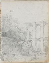 lavandières au pied d'un aqueduc by hubert robert
