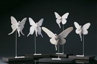 danaus plexiplus, graellsia isabellae, urania fulgens, papilio gigante, ideopsis gaura (5 works) by lladró