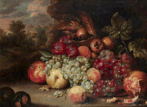 nature morte aux raisins pommes et grenades by jan pauwel gillemans the elder