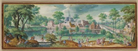 an elegant hunting party before the abbey of rouge cloître near brussels by hans bol