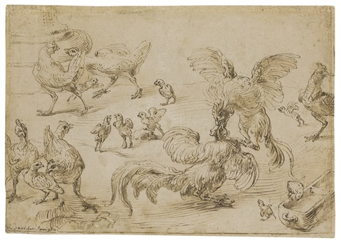 a cock fight in a poultry yard by frans snyders