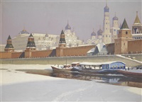 the kremlin under snow by mikhail markianovich germanshev