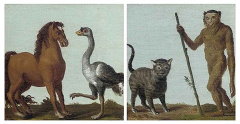 a monkey and a cat in a landscape a horse and an ostrich in a landscape pair by roelandt savery