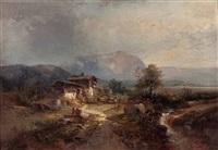 romantische landschaft by heinrich hiller