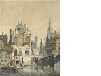 a dutch town scene by jan hendrik verheyen