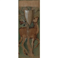 study for part of the arras tapestries of the quest for the san graal (the verdure with deer and shields) by edward burne-jones