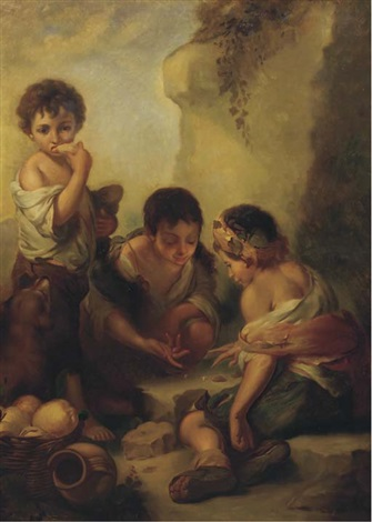 urchins playing dice and eating in a landscape after bartolomé esteban murillo by robert von stutterheim