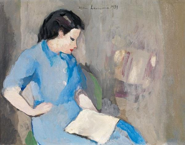 portrait de femme à la lecture by marie laurencin