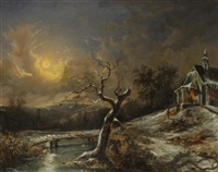 winterlandschaft mit kapelle by joseph altenkopf